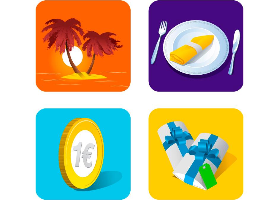 Illustraties gemaakt voor Vakantieveilingen.nl. Gebruikt op diverse uitingen waaronder Abri