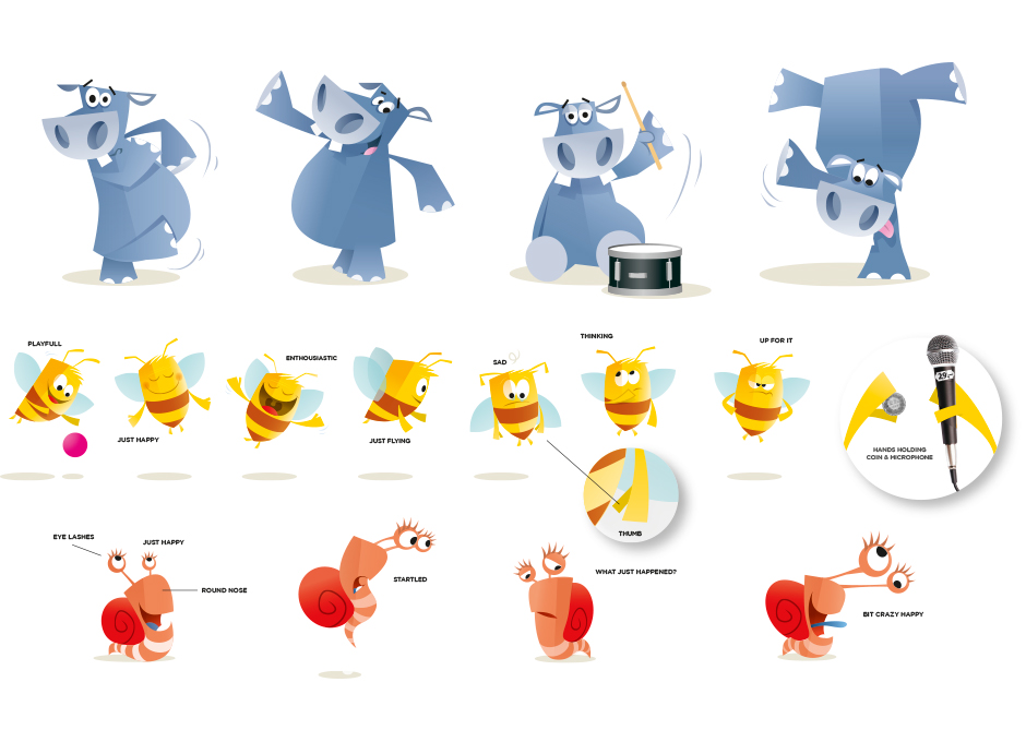 Postfinance character design illustrate André Snoei illustrator