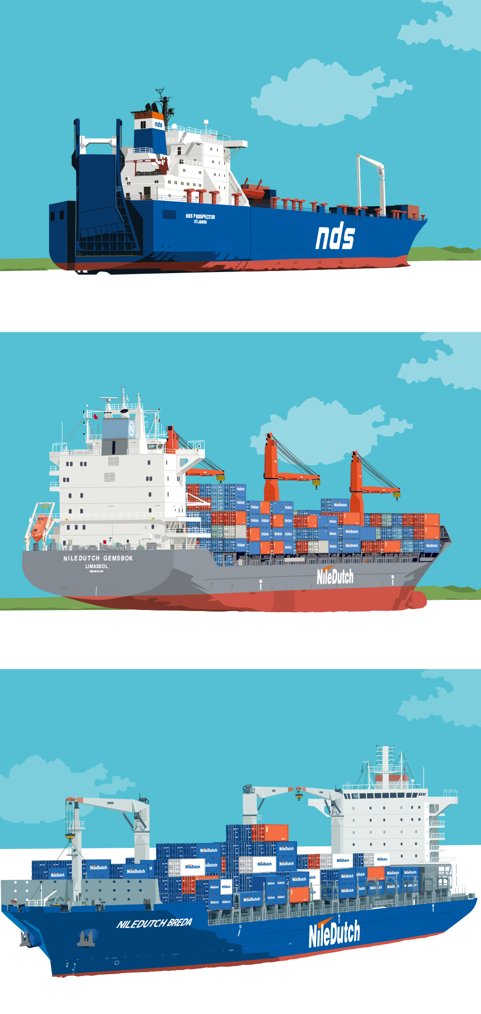 Niledutch container schepen snoei vormgeving grafisch ontwerpbureau rotterdam freelance illustrator andre snoei