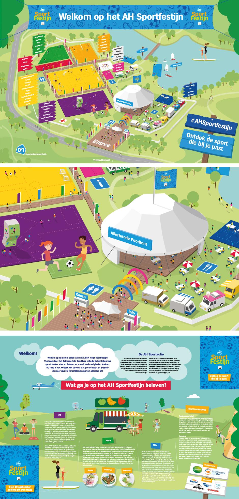 Plattegrond AH Sportfestijn André Snoei grafisch ontwerpbureau Rotterdam freelance illustrator rotterdam freelance grafisch vormgever